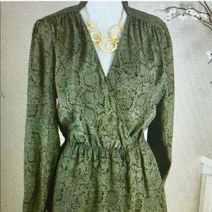 Parker olive green snakeskinprint dress never worn